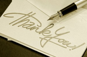 Thank you note and pen - sepia