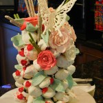 Karvin Domingo, Lead Cook made this beautiful white chocolate covered strawberry arrangement.  Look at that white chocolate butterfly. Great job Karvin!
