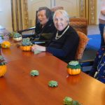 Toyoko Mayer, Betty Madrigal and Bette McAninch with their finished centerpiece for Thanksgiving!